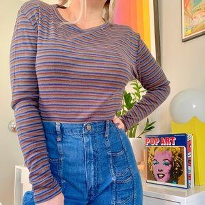 Vintage 70s rainbow striped long sleeve tee M/L
